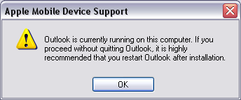 apple ipod iphone device support warning